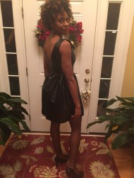 My $23 Bar III foe leather dress for a holiday party. I don't buy at regular prices