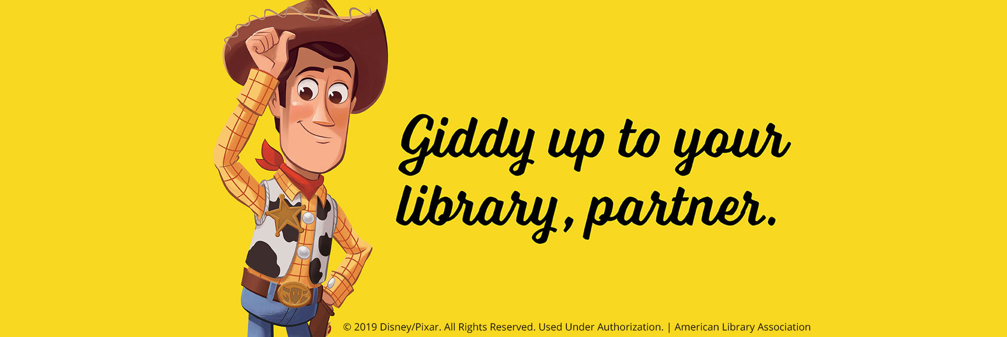 giddy up to your library partner for library card sign up month