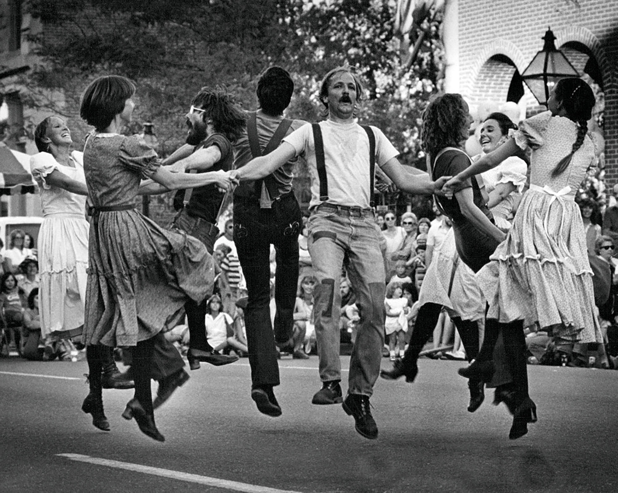Members of the Hoofin High Country Cloggers lead dancing in the third annual Labor Day Weekend Hoedown in Larimer Square in 1979 in Denver.Ernie Leyba— Denver Post via Getty Images