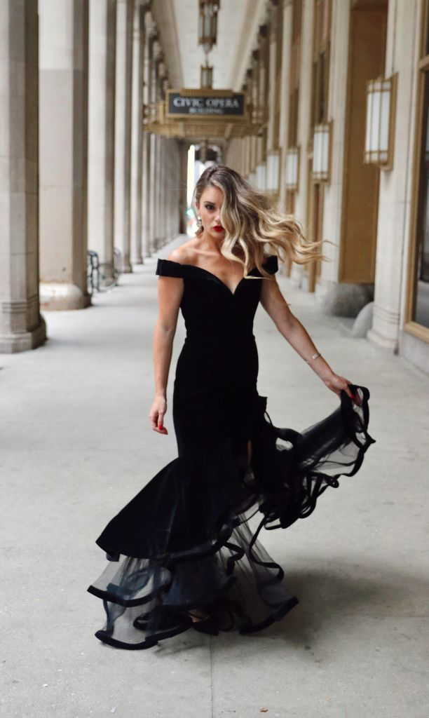 Off the Shoulder Tiered Black Tie Dress