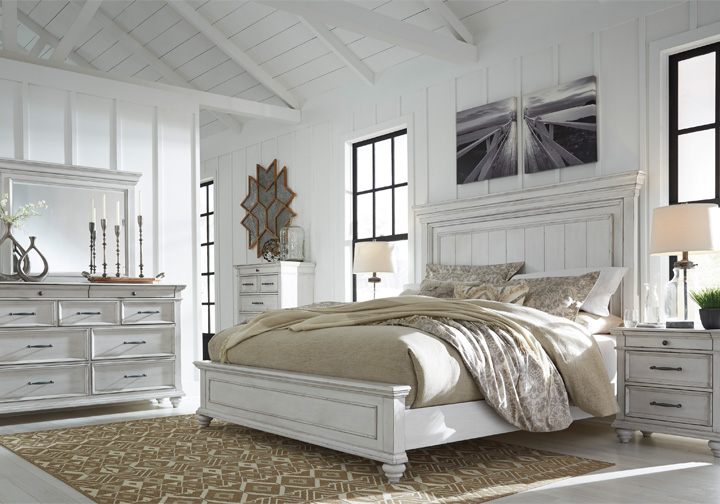 kanwyn whitewash king panel bedroom set