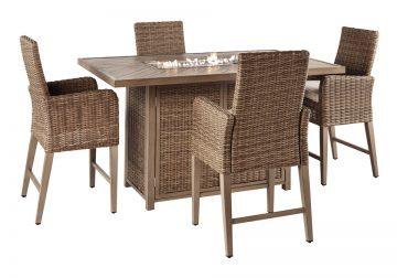 Beachcroft Beige Outdoor Rectangular Bar Table Chair 5pc ... on Beachcroft Beige Outdoor Living Room Set  id=69155