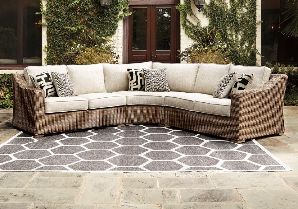 Beachcroft Beige Outdoor Love Seat 2pc Sectional ... on Beachcroft Beige Outdoor Living Room Set  id=94888