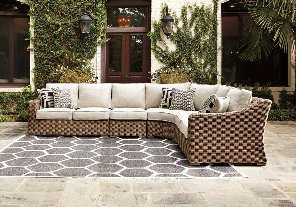 Beachcroft Beige Outdoor Love Seat 3pc Sectional ... on Beachcroft Beige Outdoor Living Room Set  id=57220