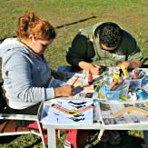 Vanessa and Richard painting Boomerangs