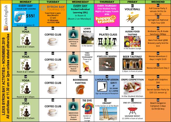 Nov activity Calendar