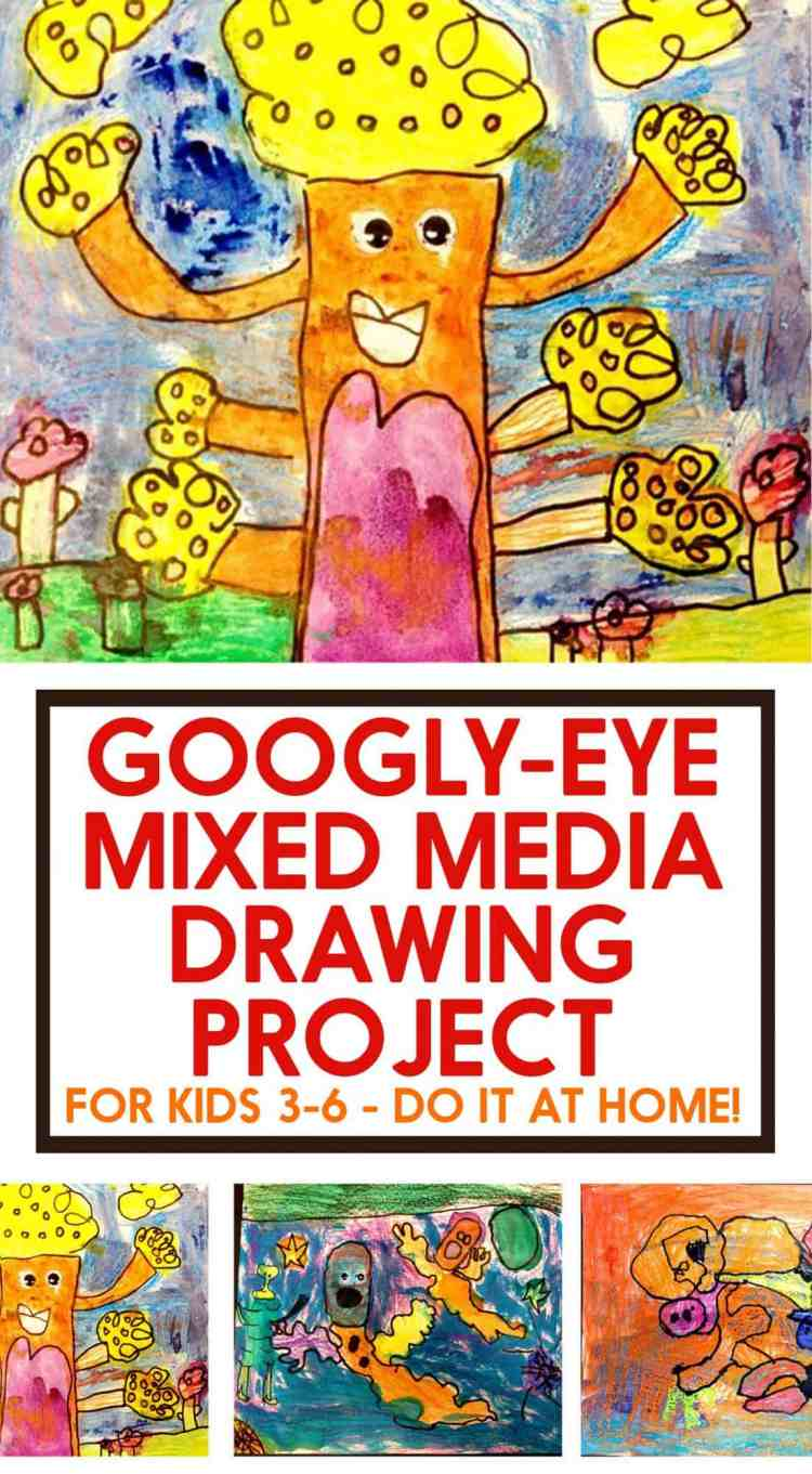 Googly-Eye Mixed Media Drawing Project for Kids