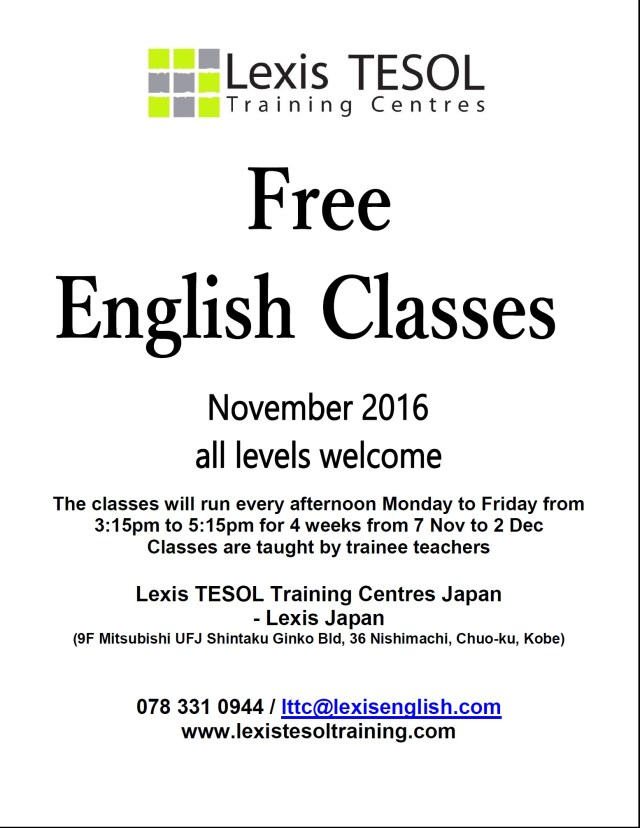 lexis-japan-nov-2016-celta-free-english-lessons-flyer