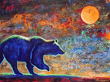 A blue bear steps into a lively sky under a moon.