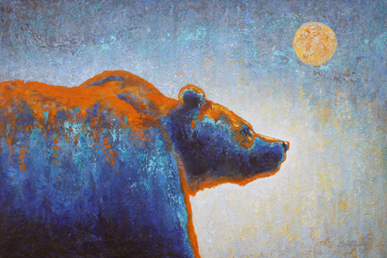 Grizzly Bear and Moon