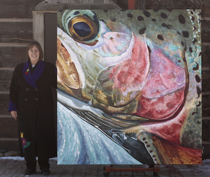 artist Lexi Sundell and her Heaven Bound Trout painting
