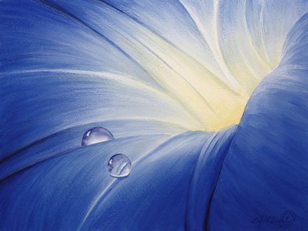 The center of a morning glory with two dew drops