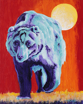 Turquoise and purple bear strides forward in wild orange background with a large moon.