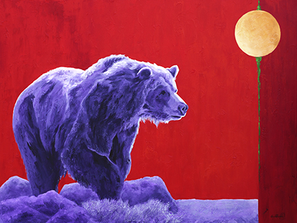 Purple grizzly bear stands against a striking red background illuminated by the moon