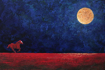 A red cow pony charges across a vast landscape under a stormy blue sky with a huge moon.