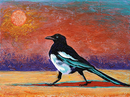 Sassy Strut is small magpie painting that packs a wallop, both with the attitude of the bird and with the wild color palette.