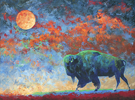 A powerful storm sky lit by the moon provides the backdrop for this buffalo.