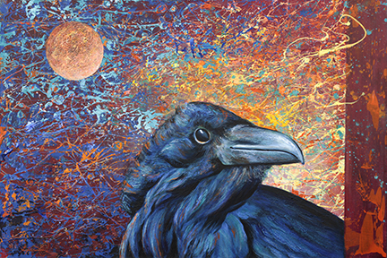 Painting of raven with moon and wild sky
