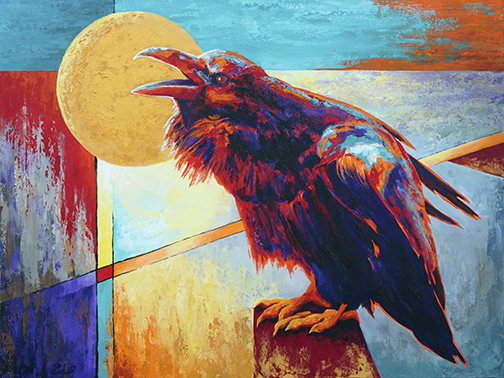 Raucous raven tells the moon colorful stories