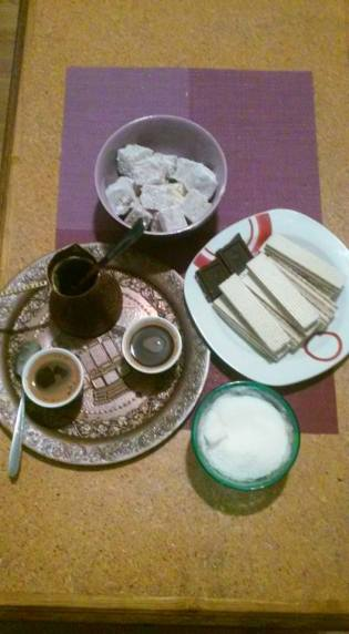 This is Bosnia, in one picture. Coffee, Turkish delights, friendship.