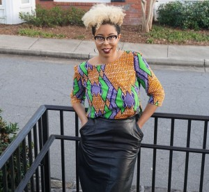 #OOTD: Leather Skirts, Curly Hair & Ankara Top