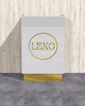 Recepcja lada biały lacobel ze złotym lustrzanym logo i cokołami 80x120x50