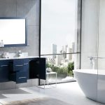 Amelie 60 Navy Blue Double Vanity White Carrara Marble Top White Square Sinks And 60 Mirror Lexora