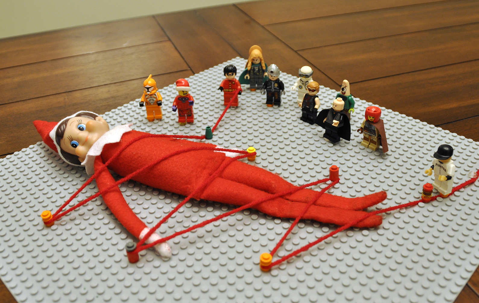 Elf on the shelf tied up