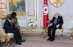 رئيس الجمهورية الباجي قايد السبسي يستقبل  ياو أوسافاو مارفو المبعوث الخاص للرئيس الغاني