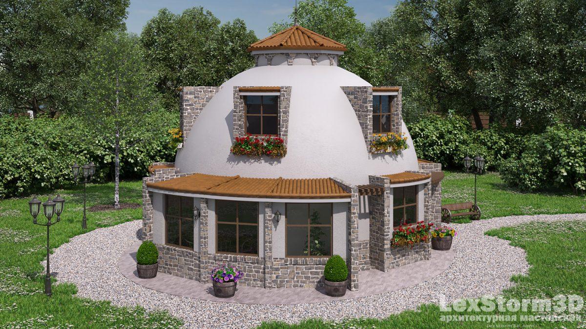 Купольный дом с черепичной крышей