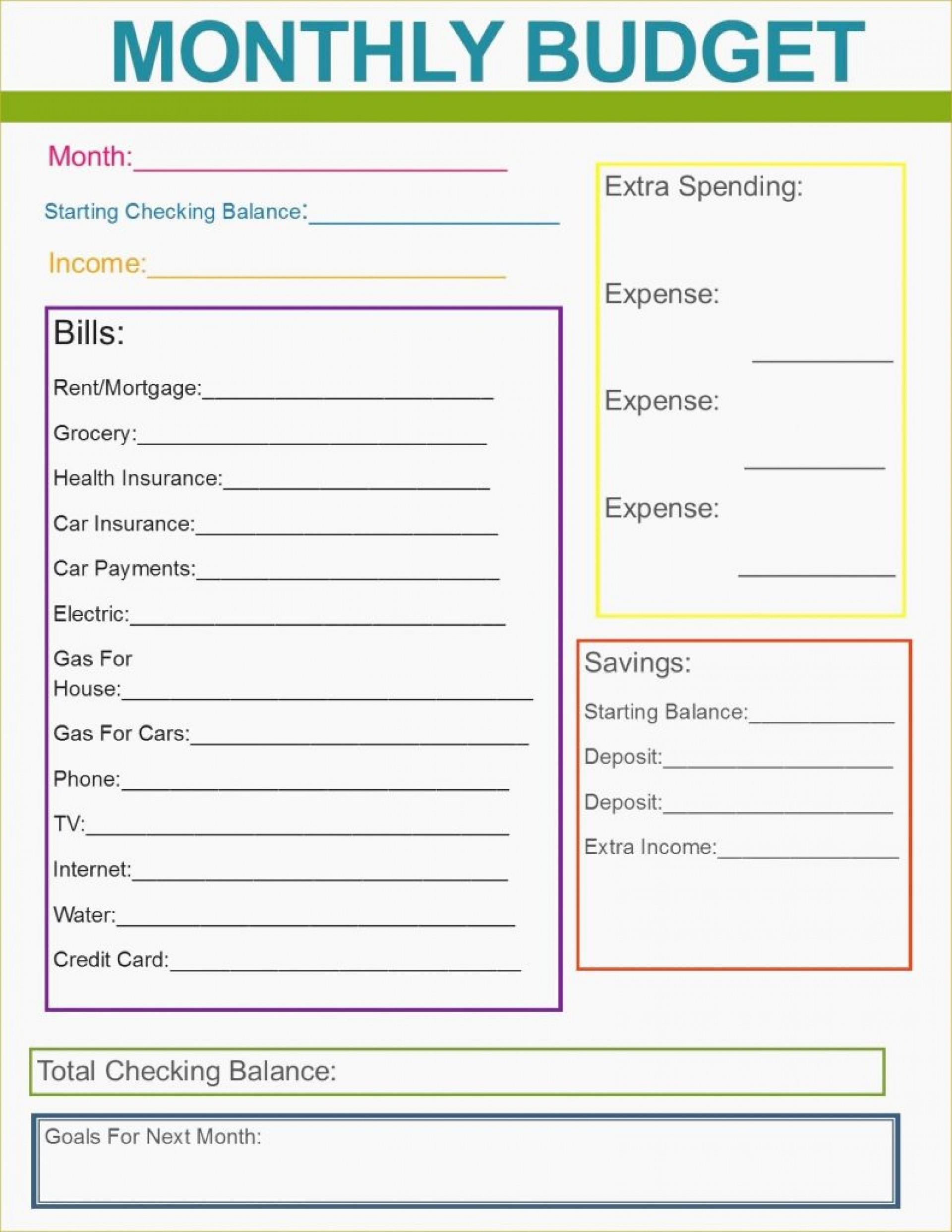 Budget Worksheet Free Printable