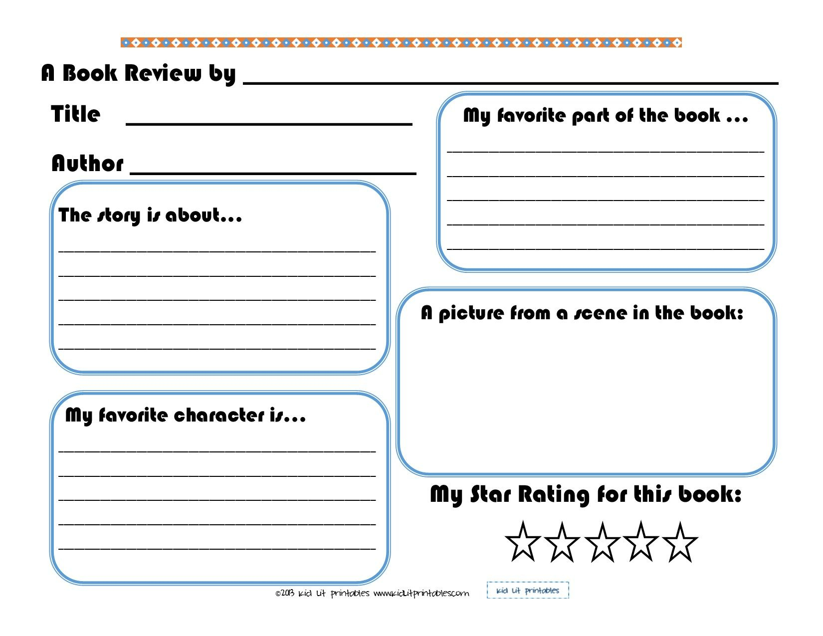 Elementary Book Report Template On Book Report Worksheet