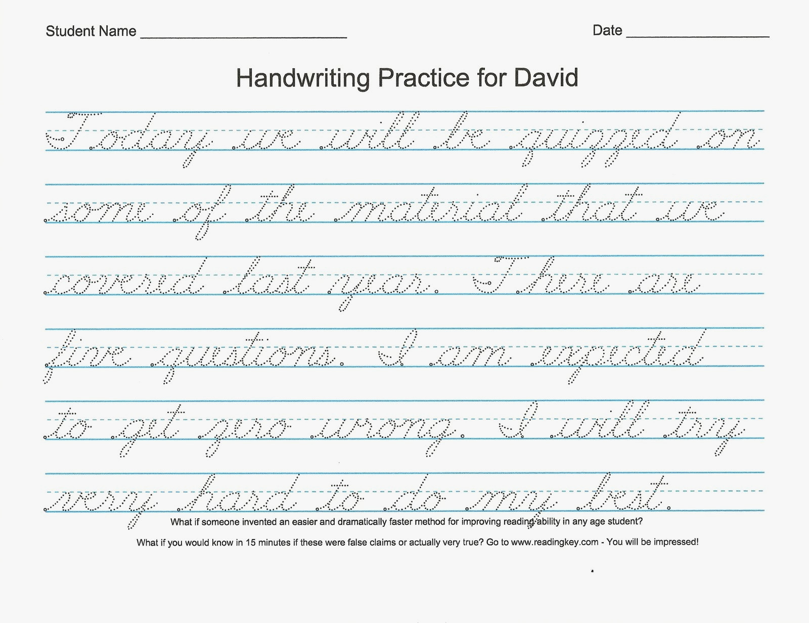 Easy Cursive Writing Worksheet Printable