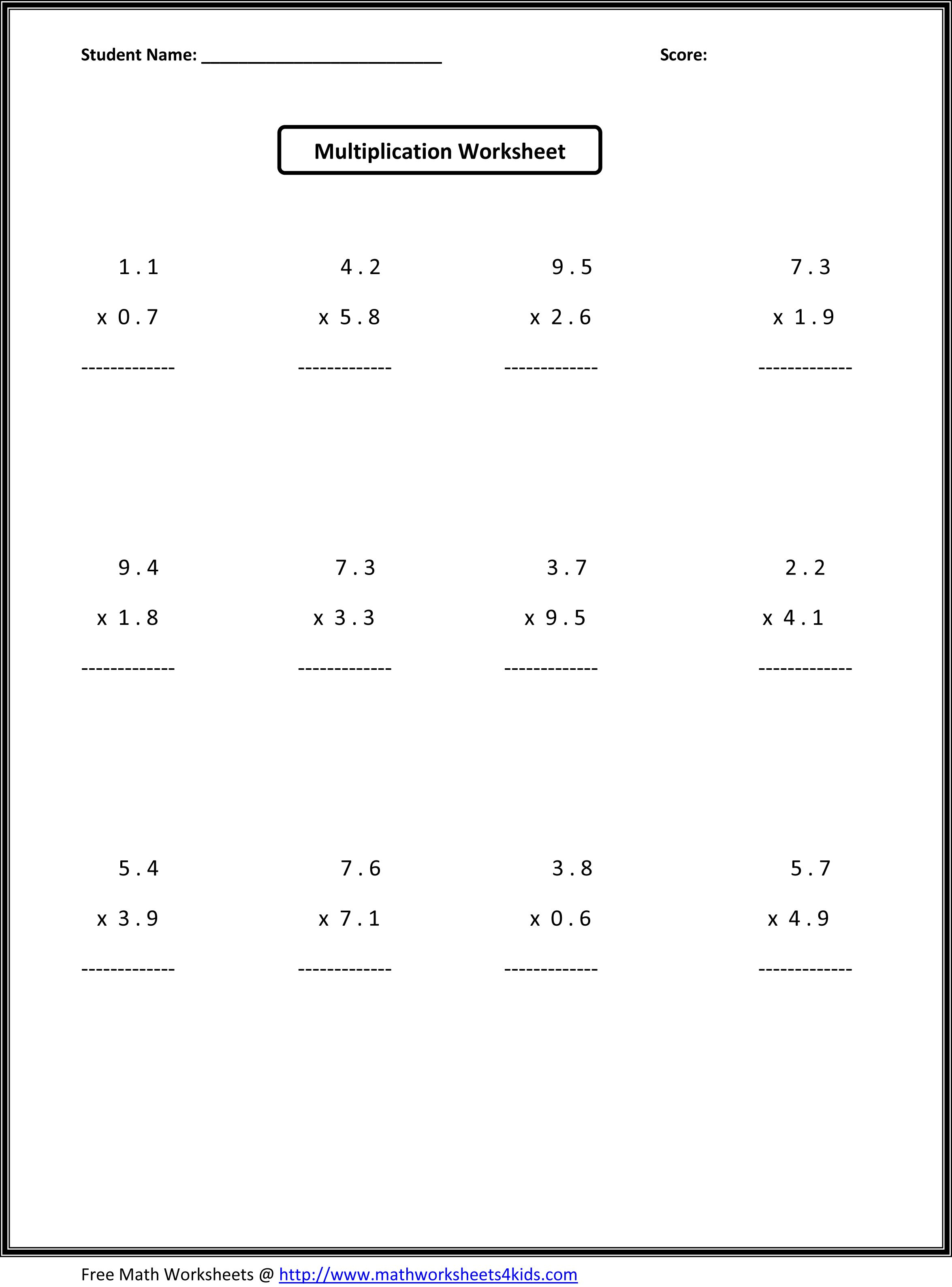 Multiplication Worksheets 7th Grade Printable