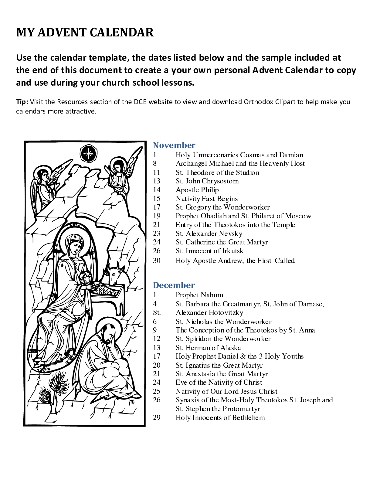 Advent Printable Worksheets
