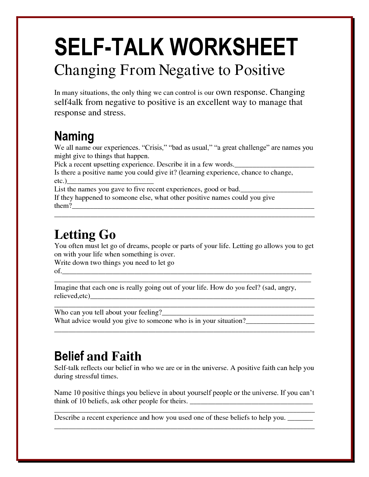 Free Printable Mental Health Worksheets For Adults