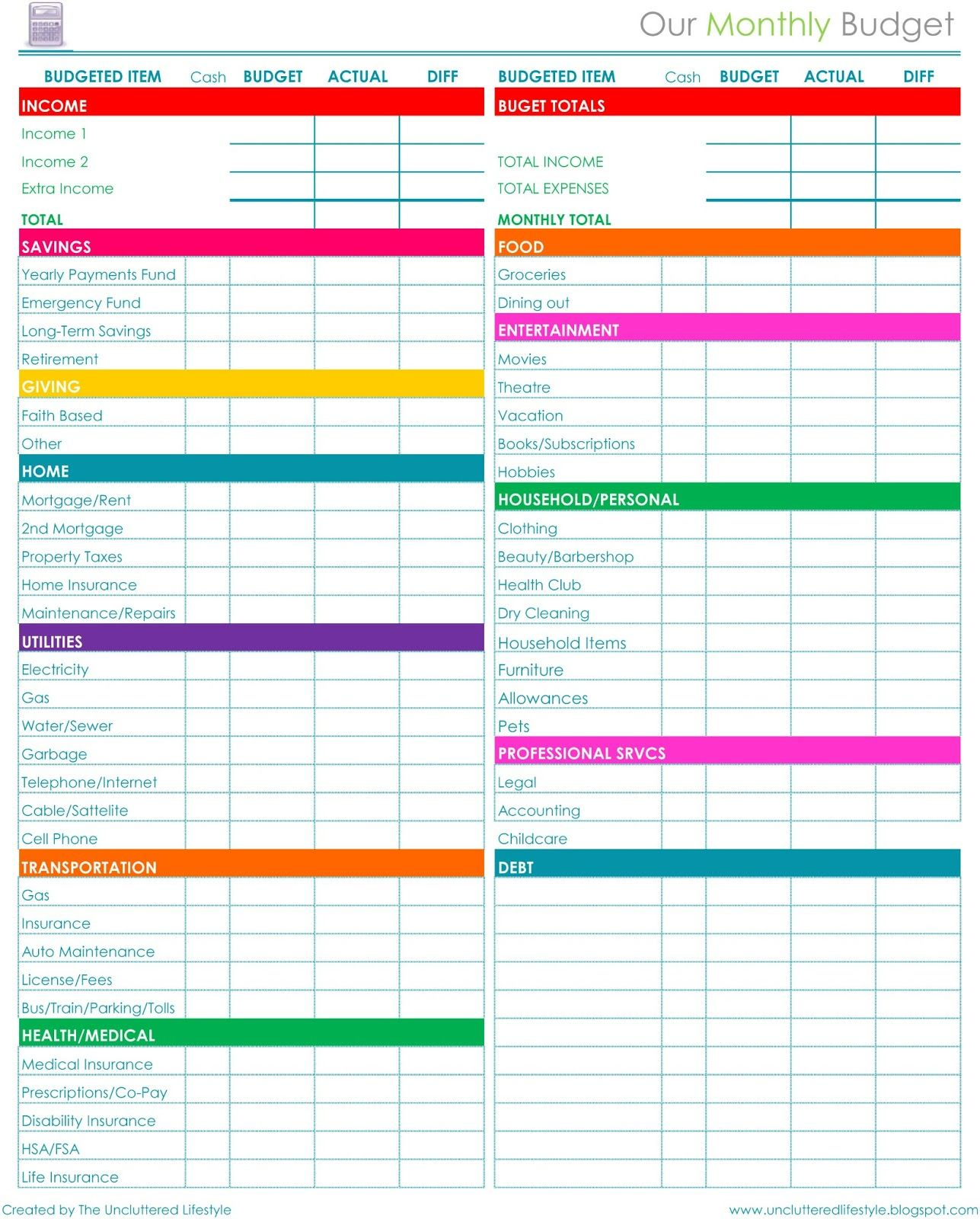 004 Free Printable Budget Templates Template Staggering