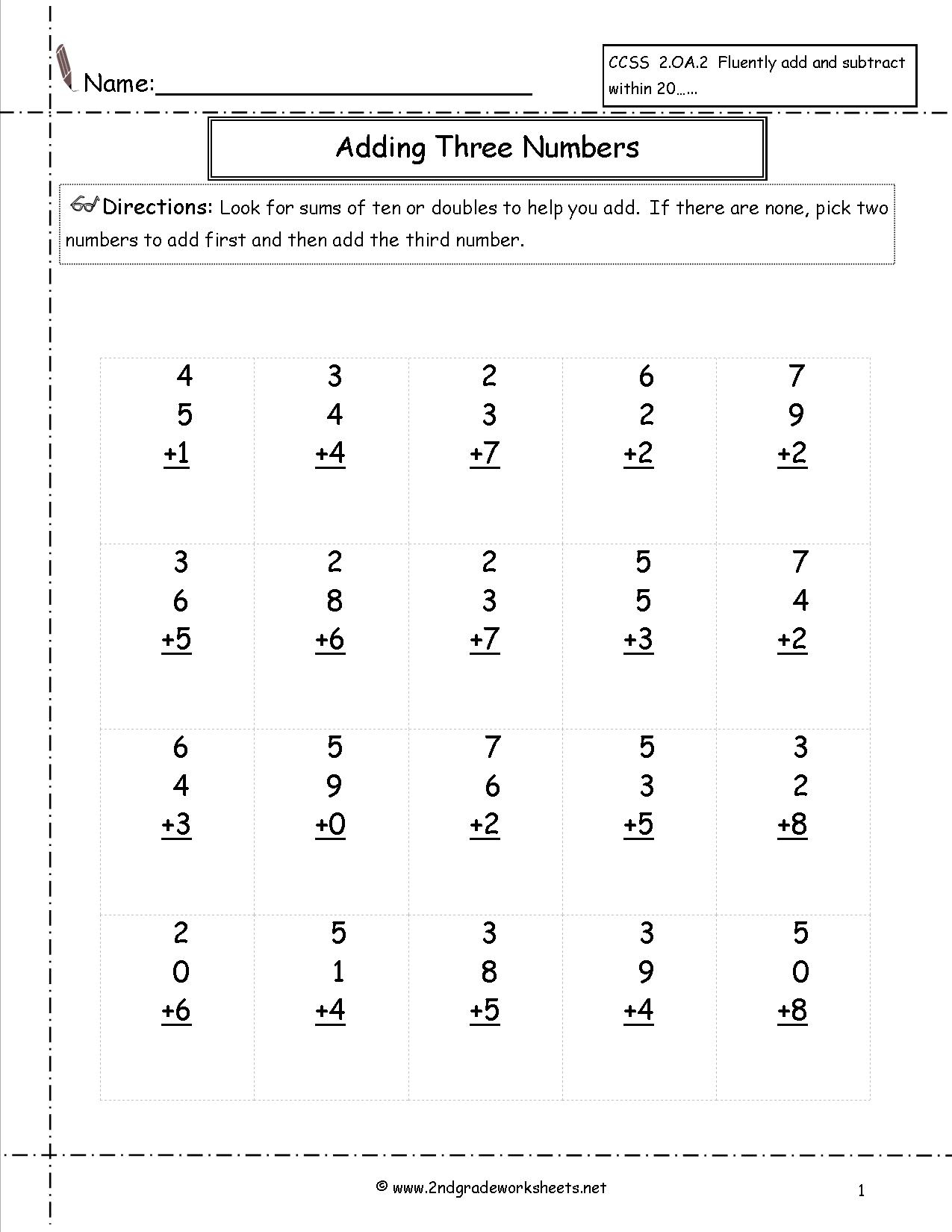1st Grade Math Review Worksheet Printable