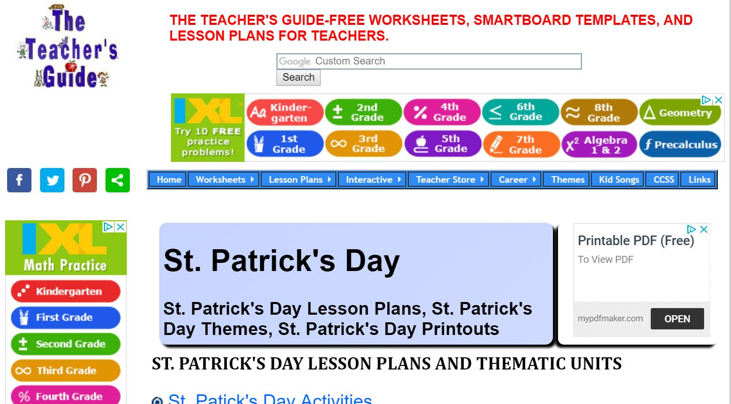 Math Worksheet Everyday Learning Math Teacher Websites