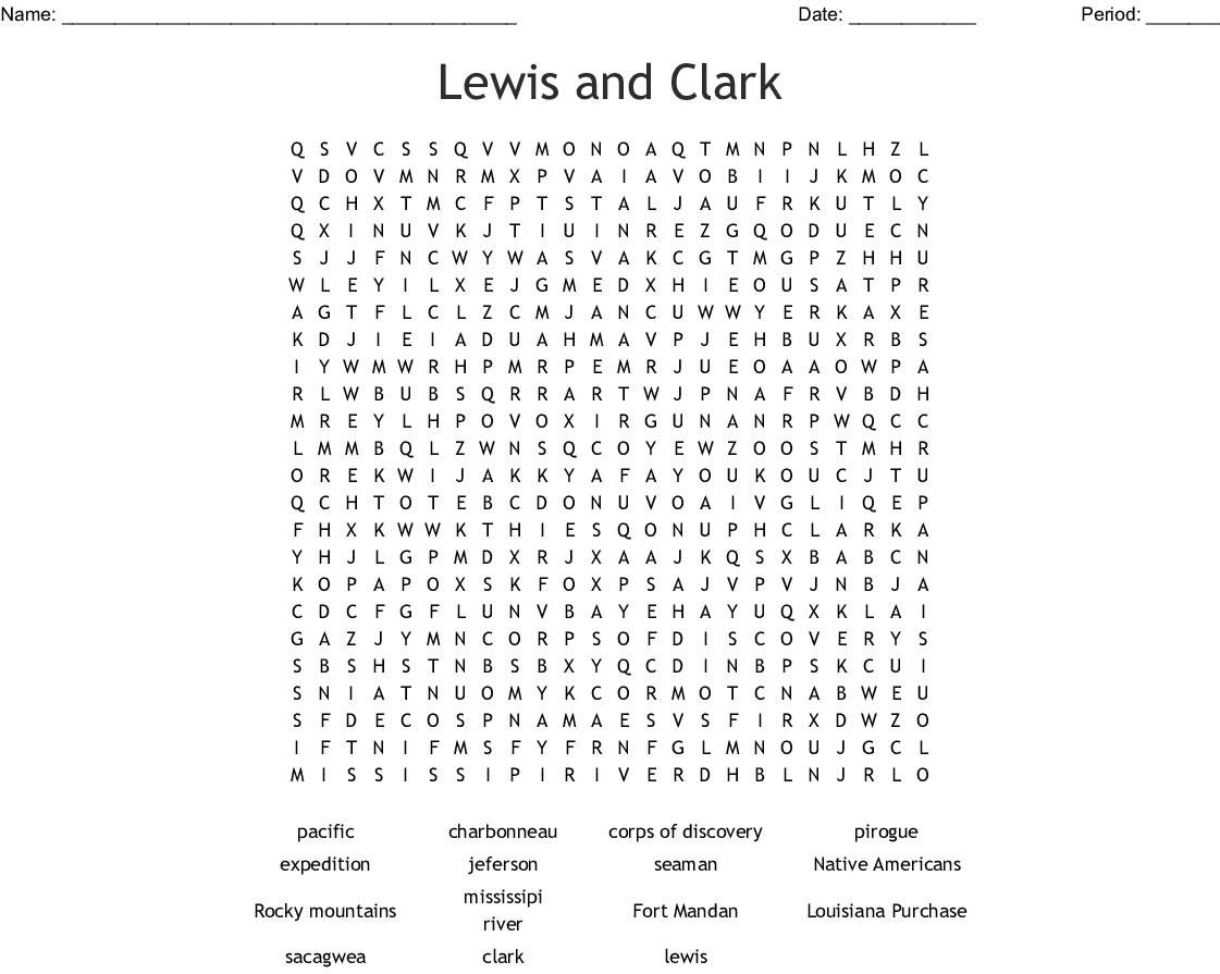 Lewis And Clark Printable Worksheets