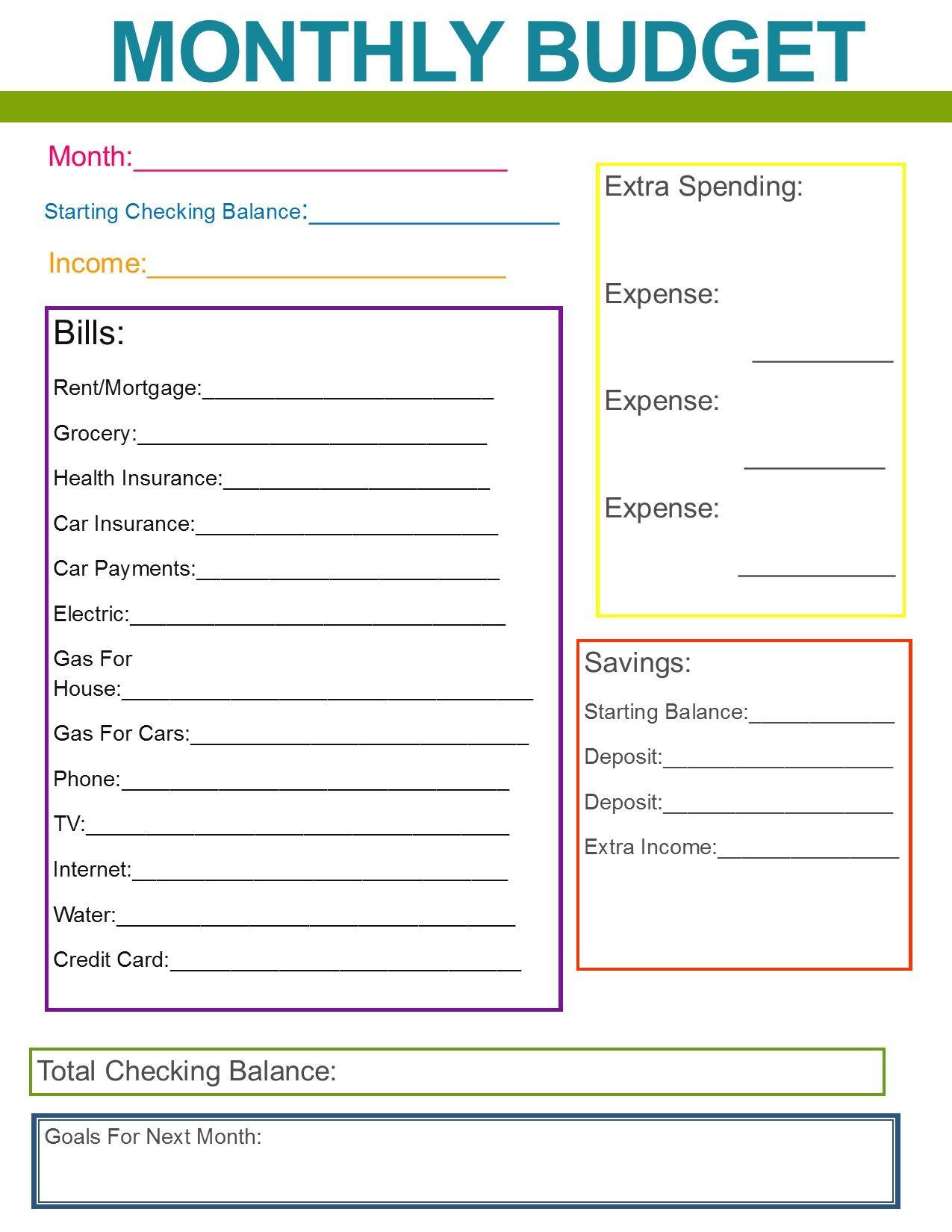 Simple Budget Worksheet Free Printable