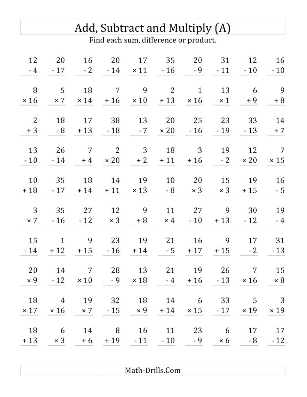 Worksheet Math In English Grade Digit Subtraction