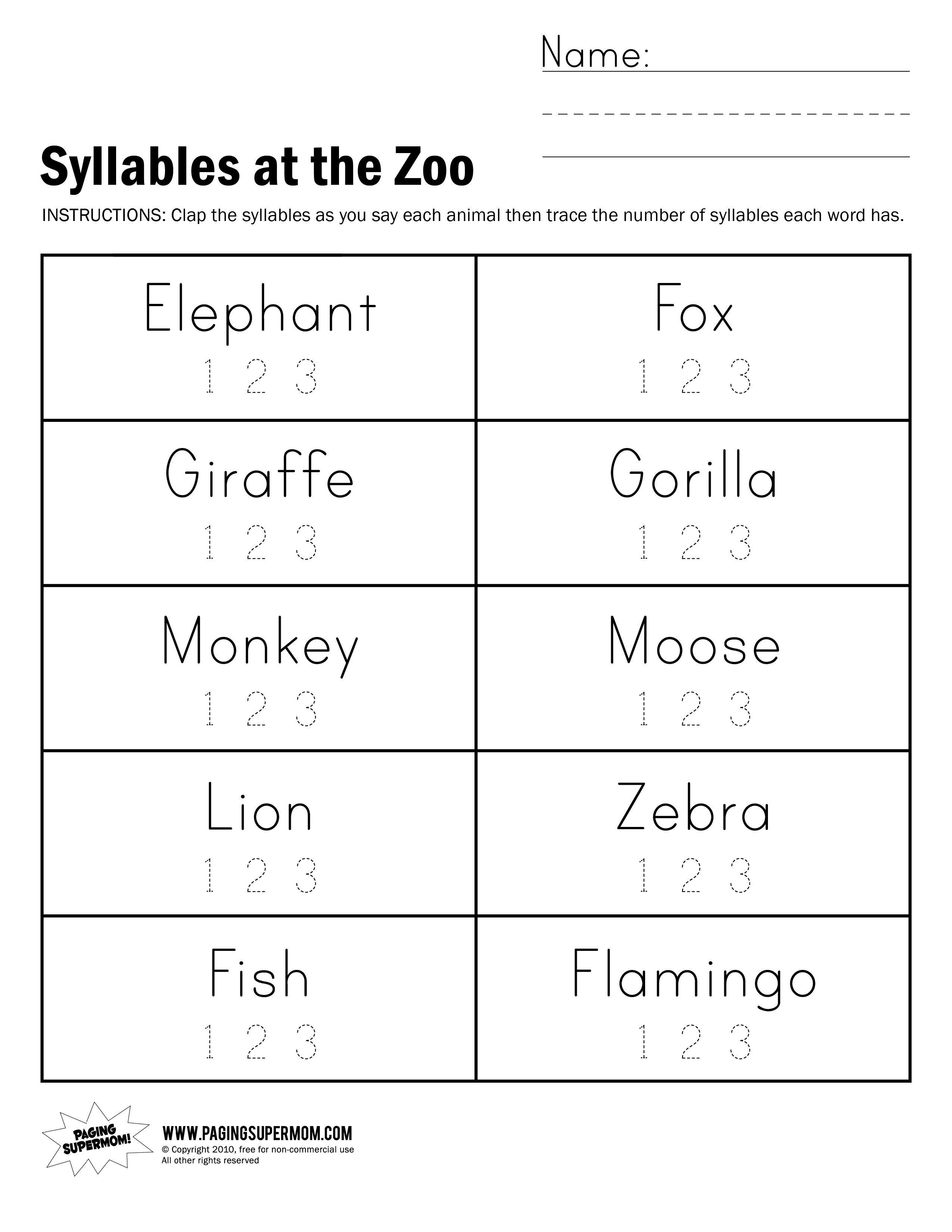 Fun Syllable Count Activity