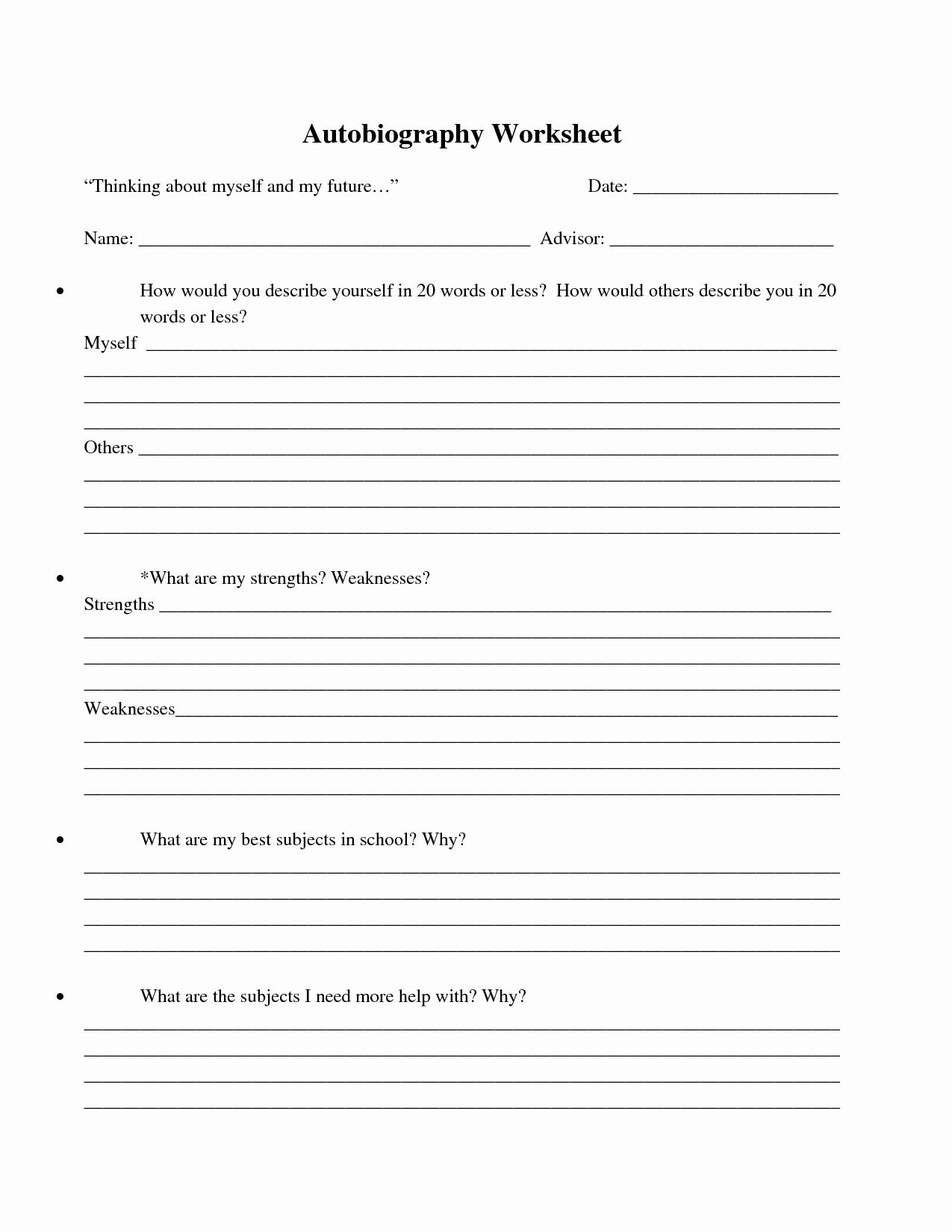 Printable Biography Worksheets