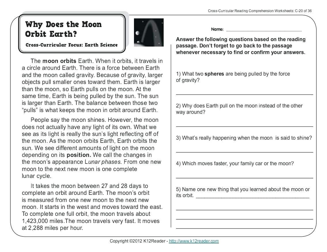 Reading Comprehension Worksheets For 1st Grade