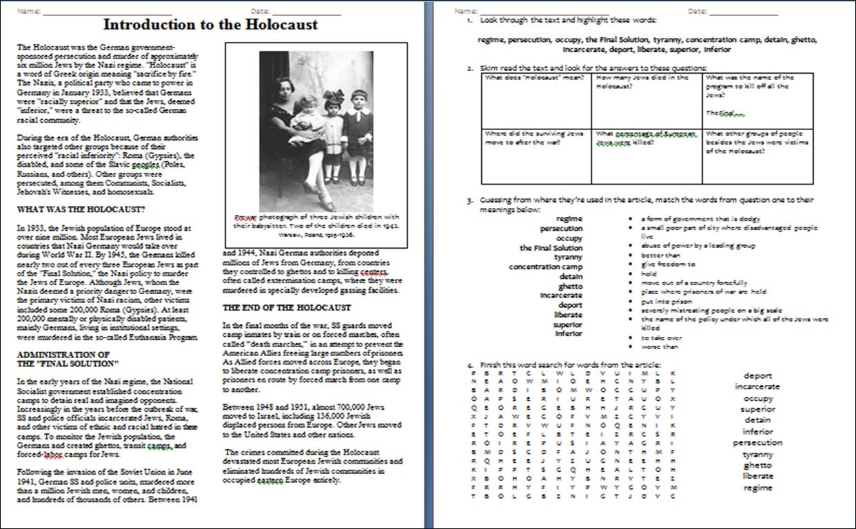 Remembering Anne Frank Worksheet