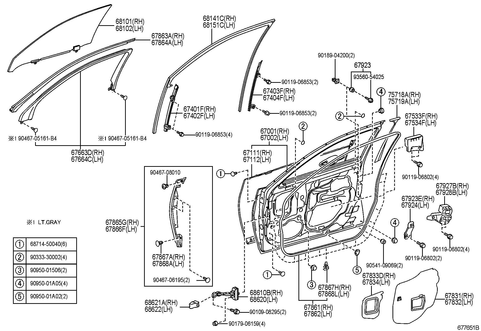 Lexus Ls600hl Front Door Panel Amp Glass