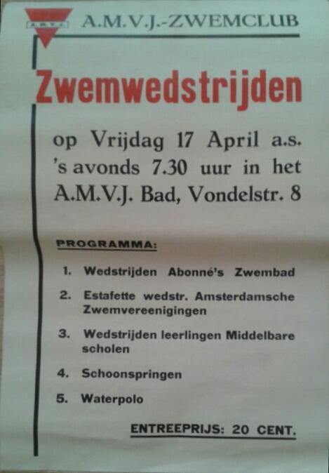 Het verhaal achter een zwemfeest-affiche van de Amsterdamse A.M.V.J.-zwemclub (1936)