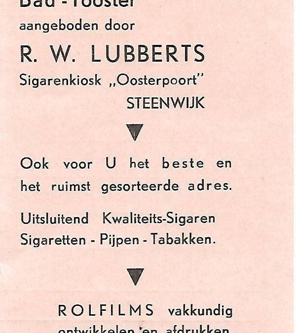 Bad-rooster met Uren van Openstelling der Nuts Bad- en Zweminrichting Steenwijk (±1938)