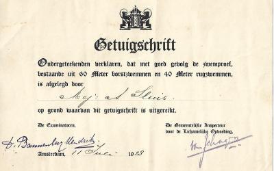 Diploma – Getuigschrift Gemeentelijke Inspectie voor Lichamelijke Oefening Amsterdam (1928)